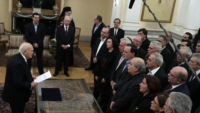Ορκίστηκε η νέα κυβέρνηση - Το νέο υπουργικό συμβούλιο της συγκυβέρνησης ΣΥΡΙΖΑ - ΑΝΕΛ - Ποιοι ανέλαβαν υπουργοί, ποιοι αναπληρωτές και υφυπουργοί